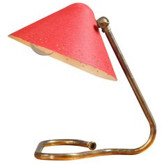 J. Kalmar Austria Desk / Table Lamp Mid Century Brass Gold Red | From a unique collection of antique and modern table lamps at http://www.1stdibs.com/furniture/lighting/table-lamps/
