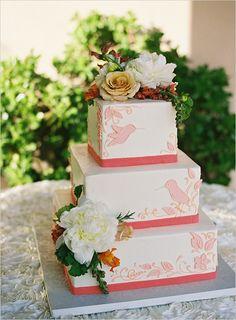 humming bird wedding cake by http://janascreativecakes.com/ photo by http://www.patmoyerweddings.com/