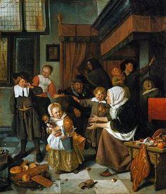 Jan Steen - The Feast of Saint Nicholas (Rijksmuseum Amsterdam / Rembrandt, Oil On Canvas, Canvas Art, Tableaux Vivants, Renaissance Kunst, Saint Nicolas, Baroque Art, Dutch Golden Age, Dutch Painters