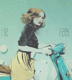 Retro moped by Yana Ellert, via Behance