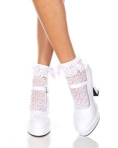 Music Legs Gothic Lolita Kawaii Cute Ruffle Lace Anklets White Socks Costume  | eBay