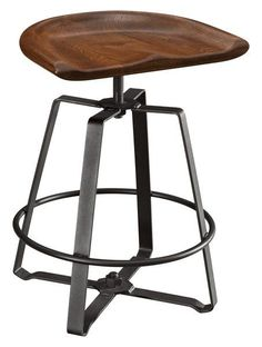 Amish Iron Craft Barstool Imagine these modern bar stools in your kitchen. A comfy scooped saddle seat in the wood of your choice combined with a black iron base. Stunning. #barstools #kitchen