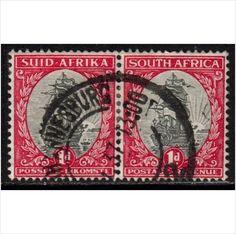 South Africa Scott 48 - SG56, 1934 1d Bi-lingual Pair used stamps sur le France de eBid