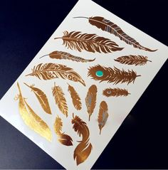 Feathers Flash Metallic Gold and Blue Temporary Tattoo