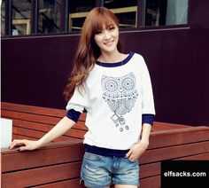 Womens Owl Round Collar Half Sleeve White Tshirt