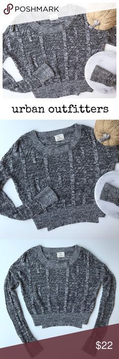 """Urban Outfitters Pins & Needles Cropped Sweater XS Urban Outfitters black and white cropped sweater by Pins & Needles. Open knit. No flaws. Size XS. Underarm to underarm: 23"""" Length: 19"""" Sleeve: 23"""" (Inventory V15) Urban Outfitters Sweaters Crew & Scoop Necks"""