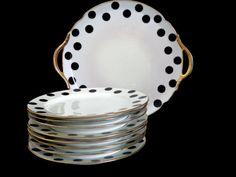 French Art Deco black polka dot cake set - manufacturer Chabrol & Poirier - Limoges