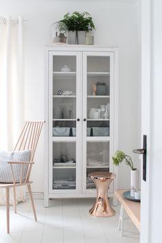 Ikea 'Hemnes' display cabinet & copper 'TomTom' stool
