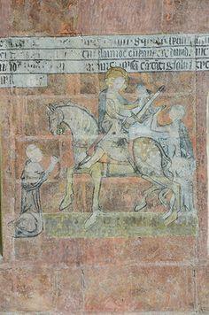 Cathédrale Saint-Gatien à Tours (37000) - Peinture murale représentant saint Martin.