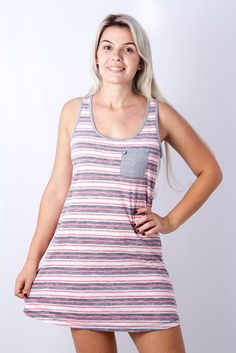 Camisola Feminina Listrada - Mania Pijamas @maniapijamas Cotton Nighties, Night Dress For Women, Pajamas Women, Linen Dresses, Nightwear, Night Gown, Pajama Set, Couture, Fashion Dresses