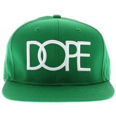 """Dope Couture """"The Dope Logo"""" SNAPBACK Green ($36) ❤ liked on Polyvore featuring accessories, hats, caps, snapback, snap back hats, green snapback hats, snap back cap, dope cap and logo cap"""