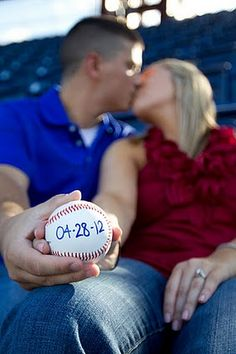 A sporty save the date for a Phillies baseball theme wedding. Beautiful engagement session by Cindy Guessford.