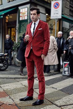 red corduroy suit