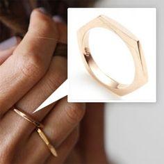 GAbriela Artigas 14K rose/gold hexagon ring