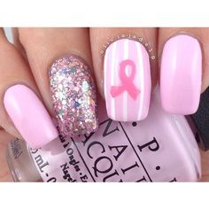 Breast Cancer Awareness Nail Art ❤ liked on Polyvore featuring beauty products, nail care, nail treatments and nails