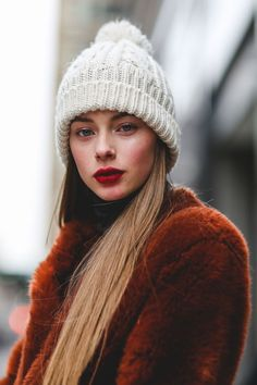 Rosy cheeks give us a reason to step out in the cold.  #refinery29 http://www.refinery29.com/best-beauty-nyfw-2016-street-style-pictures#slide-16