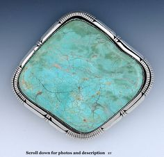 HUGE HEAVY NAVAJO SOUTHWEST STYLE STERLING SILVER & TURQUOISE BELT BUCKLE