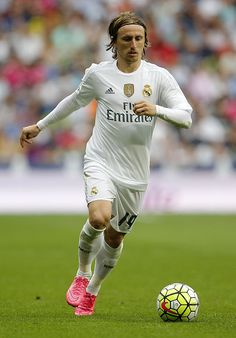 Luka Modric of Real Madrid in action during the La Liga match between Real Madrid CF and Malaga CF at Estadio Santiago Bernabeu on September 26 2015...