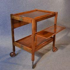 antique serving tea trolley walnut edwardian vintage folding butler buffet c1910 - photo angle #6