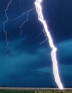 Dramatic Close up view of a lightning strike