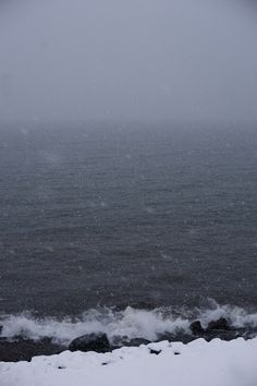 Snowfall on Lake Superior. Winter near the Lakes is really quite spectacular - if you can bear the cold.