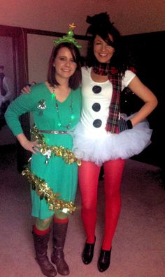 SantaCon Holiday Costume Ideas Frosty The Snowman And Christmas Tree