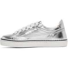 Jil Sander Navy Silver Leather Classic Sneakers (6,285 MXN) ❤ liked on Polyvore featuring shoes, sneakers, leather low top sneakers, leather lace up shoes, leather trainers, leather shoes and metallic silver sneakers