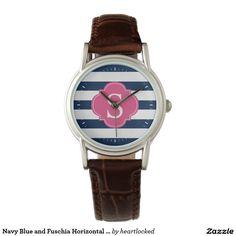 Navy Blue and Fuschia Horizontal Stripes Monogram Wristwatches
