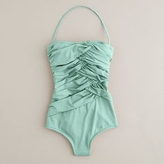 Rock a #retro #BathingSuit - the folds in the fabric are really flattering while you're still working on getting your abs back on track #momstyle