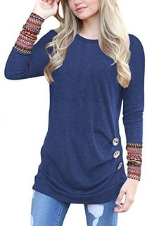 YKARITIANNA Womens 2019 Spring Fall Long Sleeve Side Split Loose Casual Pullover Tunic Tops
