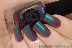 I Love Nail Polish – Sirène (underwater) Sirène is a gorgeous teal multichrome that shifts from teal to blue to purple to orange. It's SO strong and vibrant! It's definitely in the same camp as Nostalgia in terms of vibrancy and multichrome strength.