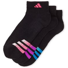Adidas 3-Pack Low Cut Climalite Socks (19 BRL) ❤ liked on Polyvore featuring intimates, hosiery, socks, black, adidas, low cut socks, adidas socks, compression socks and compression hosiery