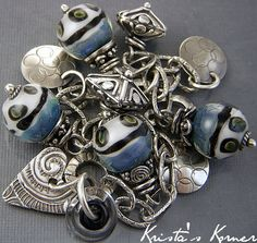 PMC Recycled Silver Metal Clay  Lampwork Charm &  by kristaskorner