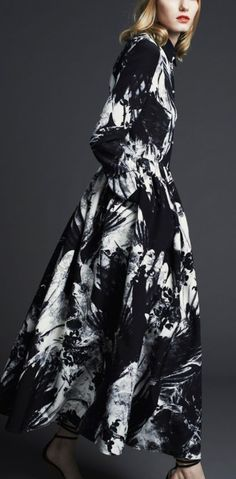 Dramatic black & white, abstract floral print maxi dress - pattern fashion // Preen by Thornton Bregazzi