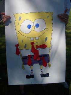Pin the tie on Spongebob! Also saw Krabby Patty realy with spatulas and buns...water games with sponges?
