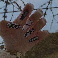 Edgy Nails, Grunge Nails, Dope Nails, Stylish Nails, Trendy Nails, Swag Nails, Acrylic Nails Coffin Short, Cute Acrylic Nails, Gel Nails