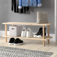 Gorgeous natural wood finish shoe storage rack