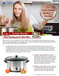 10 Time-Saving Tricks in the Kitchen by Lisa Holcomb of Build A Menu. Molly Green - March/April 2015 - Page 56