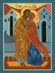Sts. Anne and Joachim Icon Print - Catholic Religious Art