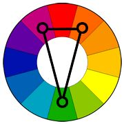 Color Wheel with split-complementary color scheme