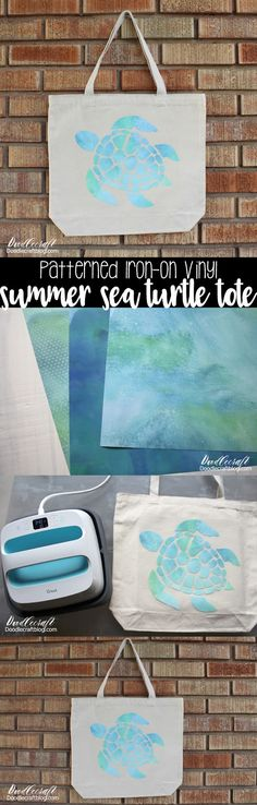 Sea Turtle Patterned Iron-On Summer Tote Bag: Cricut Explore Air 2
