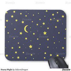 Starry Night Mouse Pad #stars #moon #sky #night #crescent