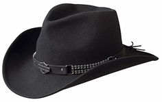 Harley Davidson Cowboy Hats Western Hats, Cowboy Hats, Harley Davidson Hats, Headgear, Wool Felt, Black Leather, Band, Chain, Accessories