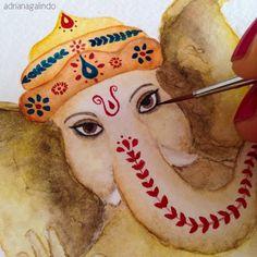 Ganesha - detail. Aquarela sobre papel/watercolor  Venda- commission - enquires: drigalindo1@gmail.com www.adrianagalindo.com