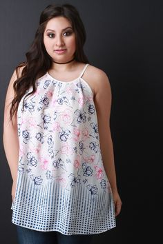 Floral and Square Print Sleeveless Top. This  plus size top  features a lightweight woven fabrication, rounded pleated neckline, spaghetti straps, flare cut hemline, and a back keyhole with button closure at nape. Accessories sold separately. 100% Polyester.Measurement   Size Bust Hem Length   1X 19 30 26   2X 20 31 27   3X 21 32 28