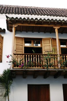 Scenic View Of A Beautiful Balcony On A Cartagena Home