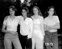 When Nicholas Nixon was visiting his wife's family in the summer of 1975, he asked all four sisters – left to right: Heather, Mimi, BeBe, and Laurie – to stand together for a picture. A year later, at the graduation of one, the sisters lined up again in the same order. From then on, Nixon …