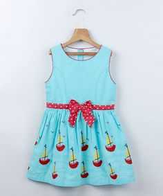 Look at this Turquoise Sailboat Tie Sleeveless Dress - Toddler