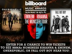 Contest ~ Enter to Win 2 Tickets to See BBMAs Nominees OneRepublic, The Monster Tour, or Fall Out Boy! - Fru-Gals