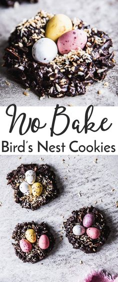 No Bake Bird's Nest Cookies are a fun and cute Easter treat you can make with the kids. These are made with toasted slivered almonds and coconut for a yummy crunchy homemade candy. You can use any chocolate you like - dark, milk or white! Vegan and gluten-free options. Make them for Easter this year! | #recipe #easter #chocolate #easyrecipes #kidfriendly #minieggs #eastercandy #candy #homemade #glutenfree #vegan